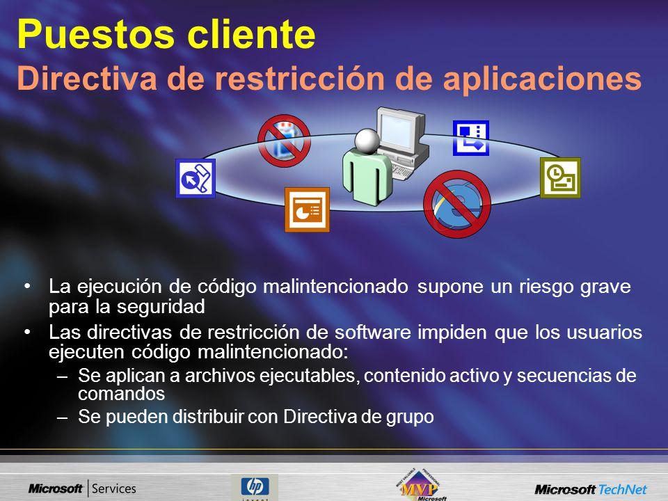 Puestos cliente Directiva de restricción de aplicaciones
