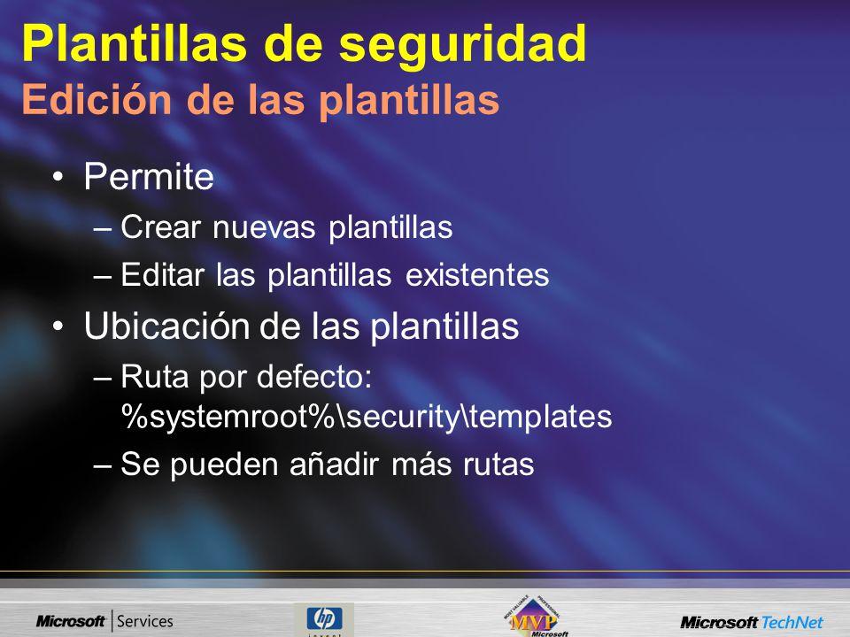 Plantillas de seguridad Edición de las plantillas