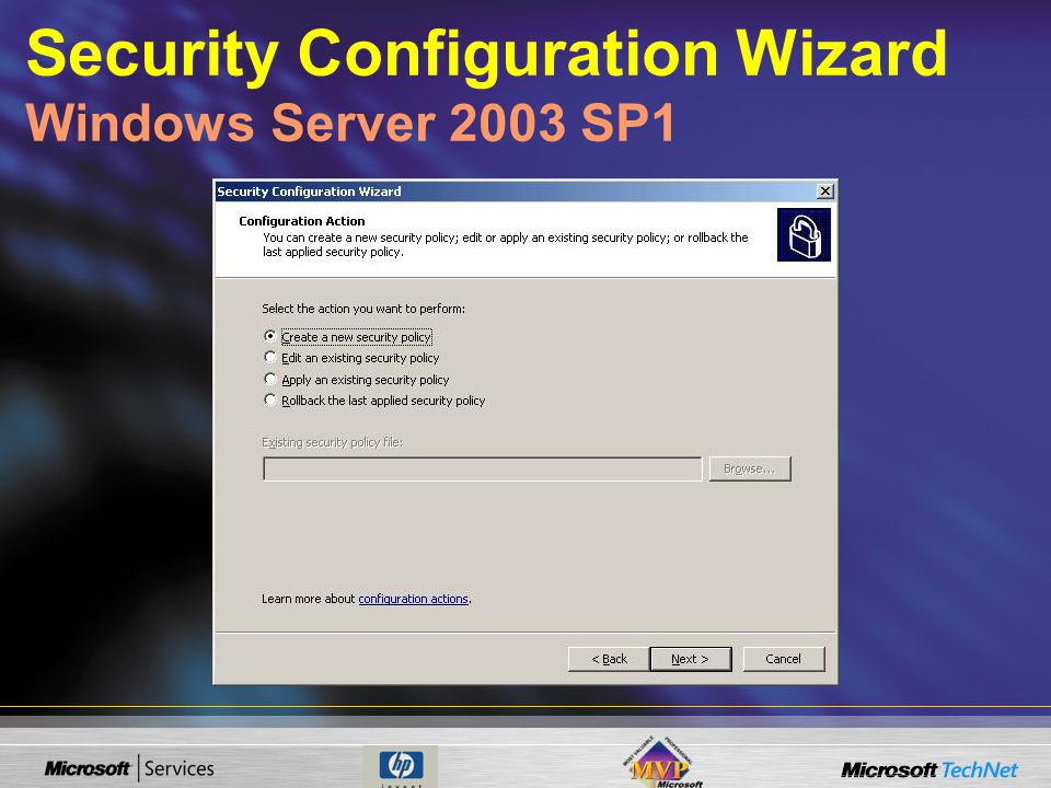 Security Configuration Wizard Windows Server 2003 SP1