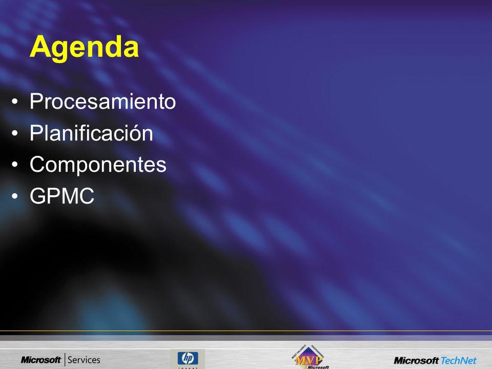 Agenda Procesamiento Planificación Componentes GPMC