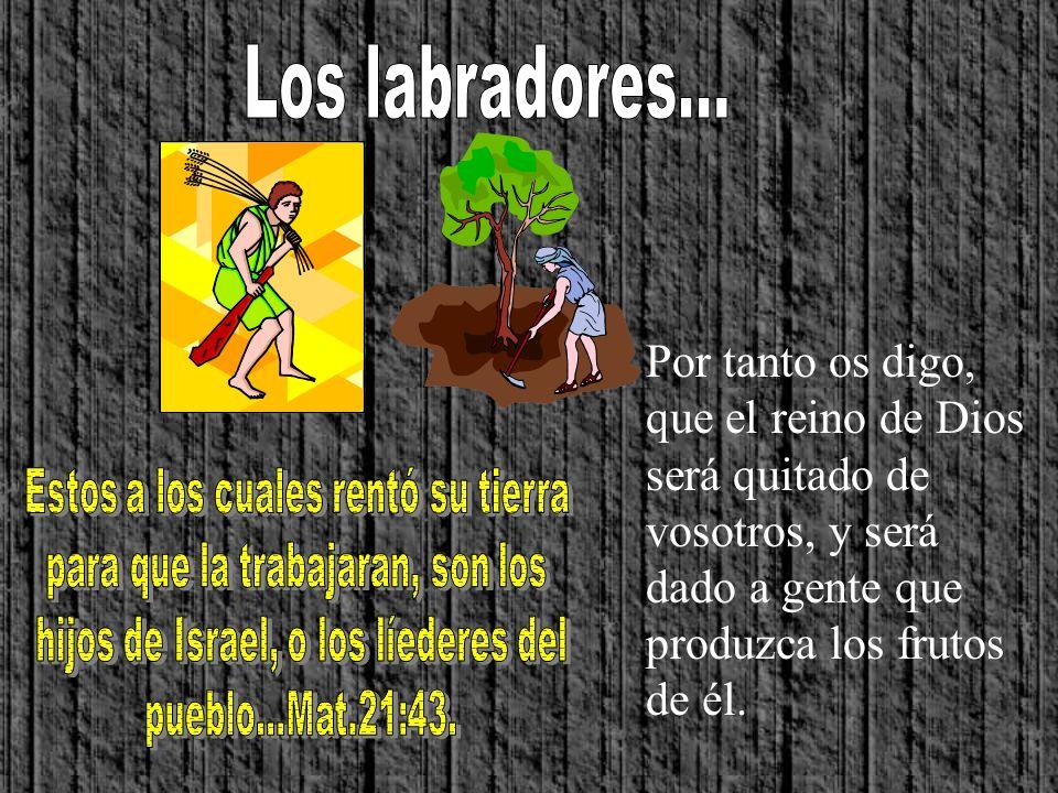 Los labradores... Por tanto os digo, que el reino de Dios será quitado de vosotros, y será dado a gente que produzca los frutos de él.