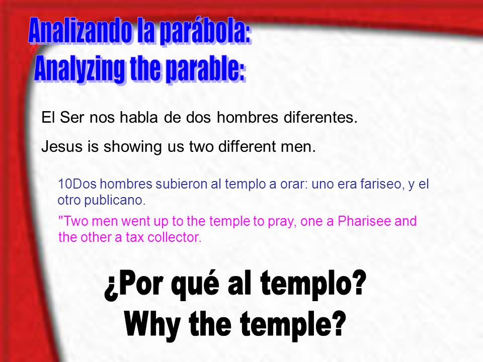 Analizando la parábola: Analyzing the parable: