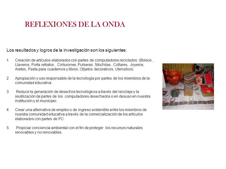 REFLEXIONES DE LA ONDA Los resultados y logros de la investigación son los siguientes: