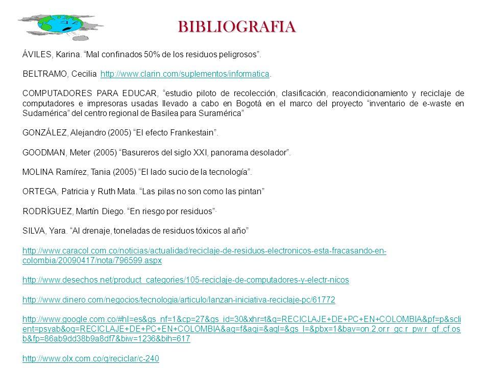 BIBLIOGRAFIA ÁVILES, Karina. Mal confinados 50% de los residuos peligrosos . BELTRAMO, Cecilia http://www.clarin.com/suplementos/informatica.