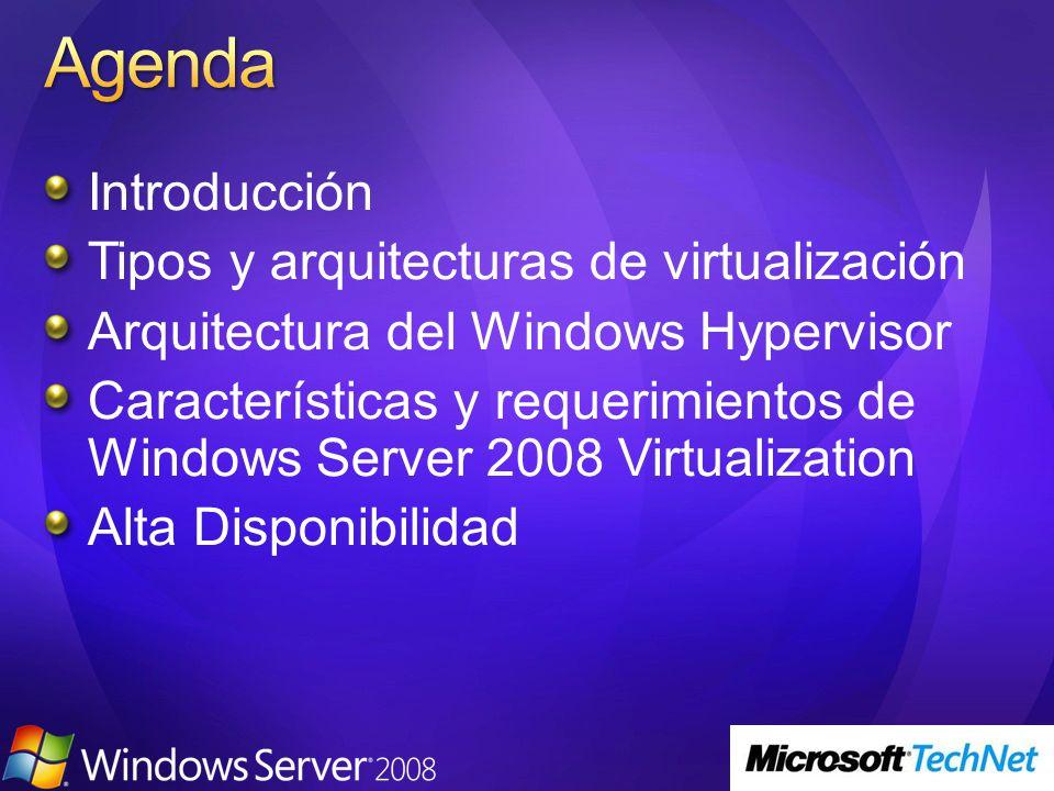 Agenda Introducción Tipos y arquitecturas de virtualización