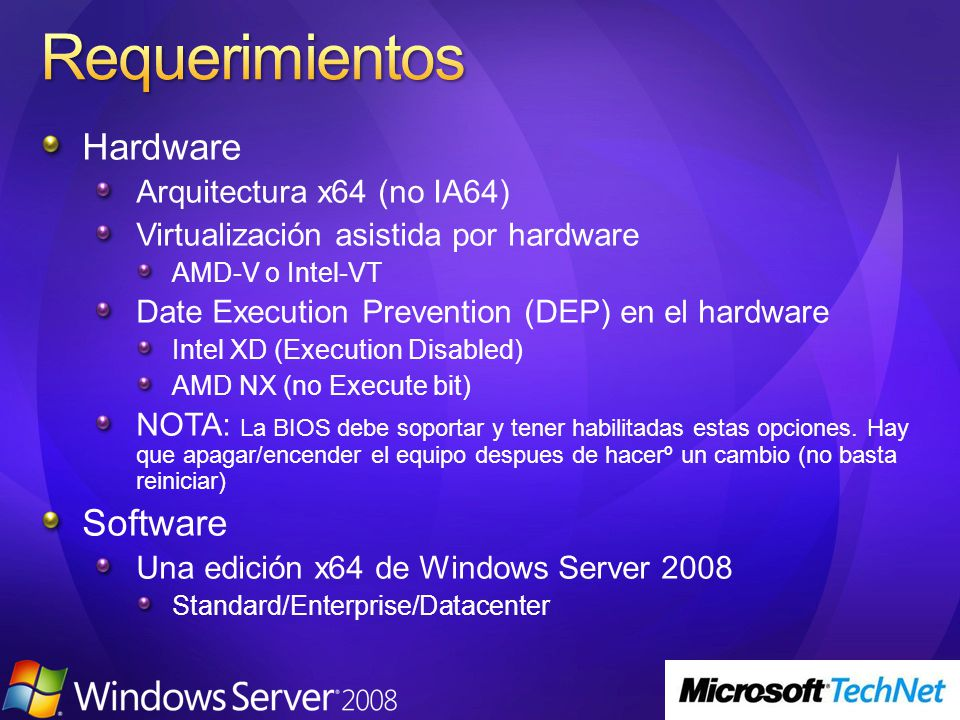 Requerimientos Hardware Software Arquitectura x64 (no IA64)