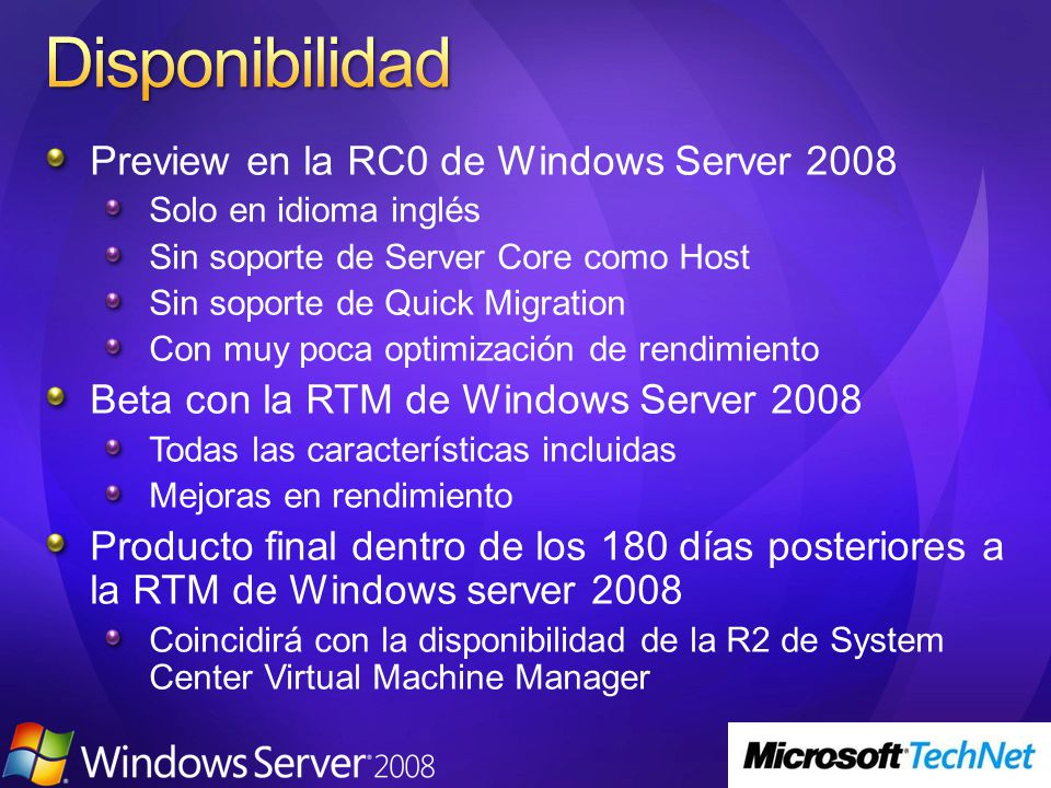 Disponibilidad Preview en la RC0 de Windows Server 2008