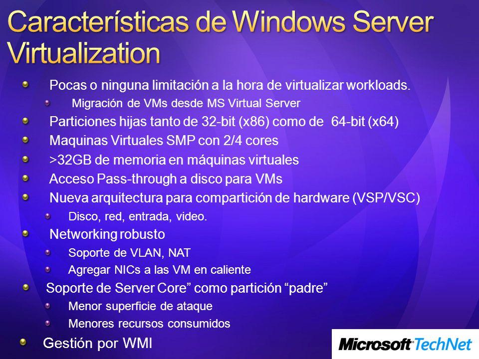 Características de Windows Server Virtualization