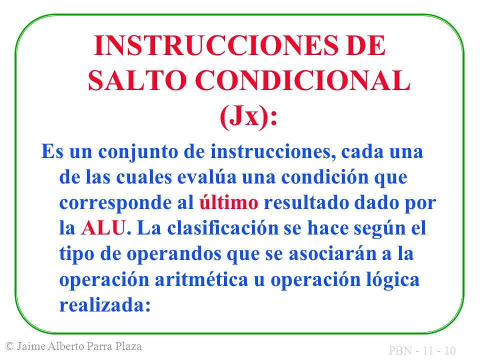 INSTRUCCIONES DE SALTO CONDICIONAL (Jx):