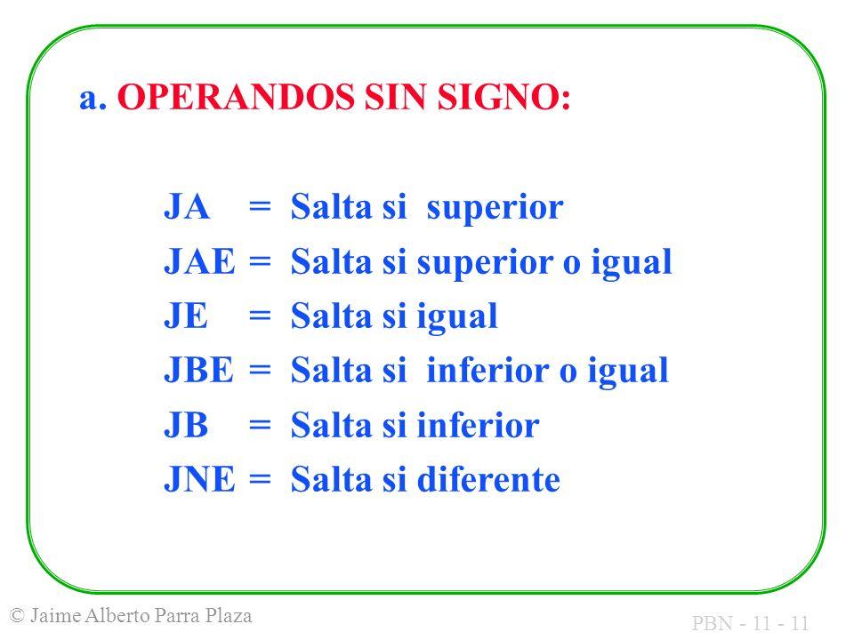 a. OPERANDOS SIN SIGNO: JA = Salta si superior. JAE = Salta si superior o igual. JE = Salta si igual.