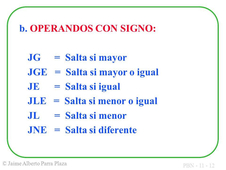 b. OPERANDOS CON SIGNO: JG = Salta si mayor. JGE = Salta si mayor o igual. JE = Salta si igual.