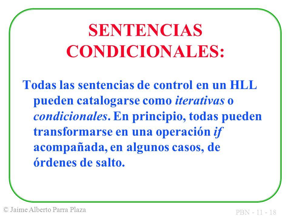 SENTENCIAS CONDICIONALES: