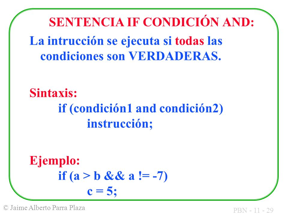 SENTENCIA IF CONDICIÓN AND: