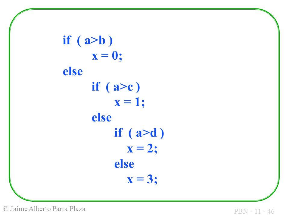 if ( a>b ). x = 0; else. if ( a>c ). x = 1;. else. if ( a>d )