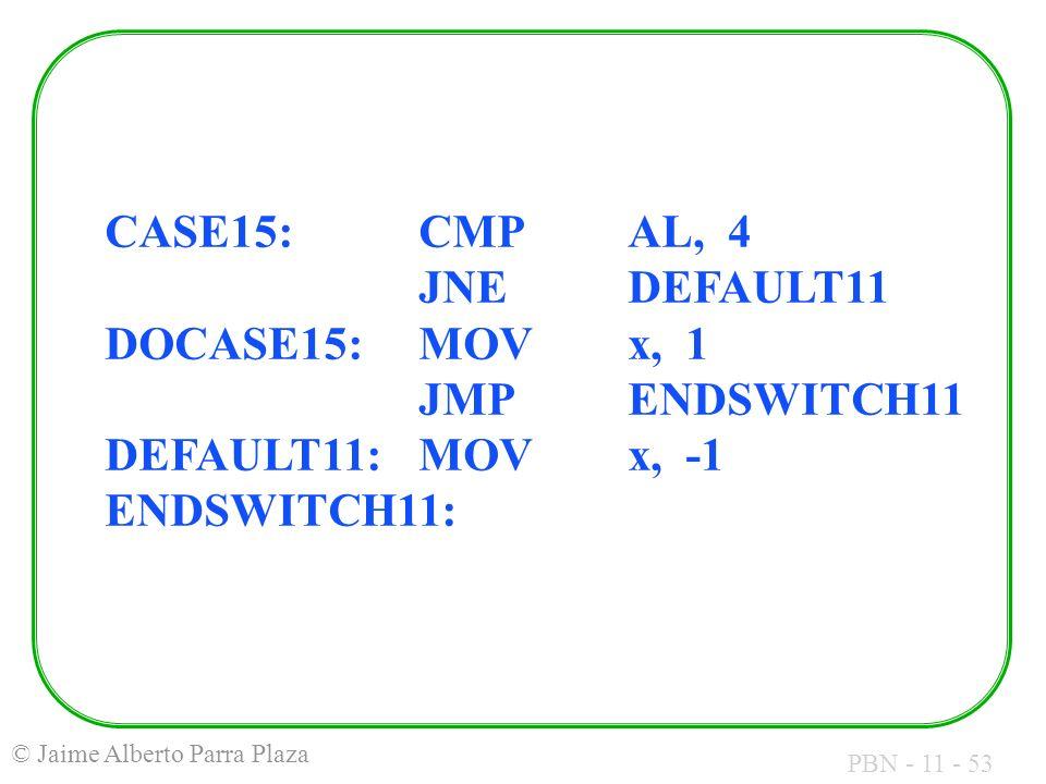 CASE15:. CMP. AL, 4. JNE. DEFAULT11 DOCASE15:. MOV. x, 1. JMP