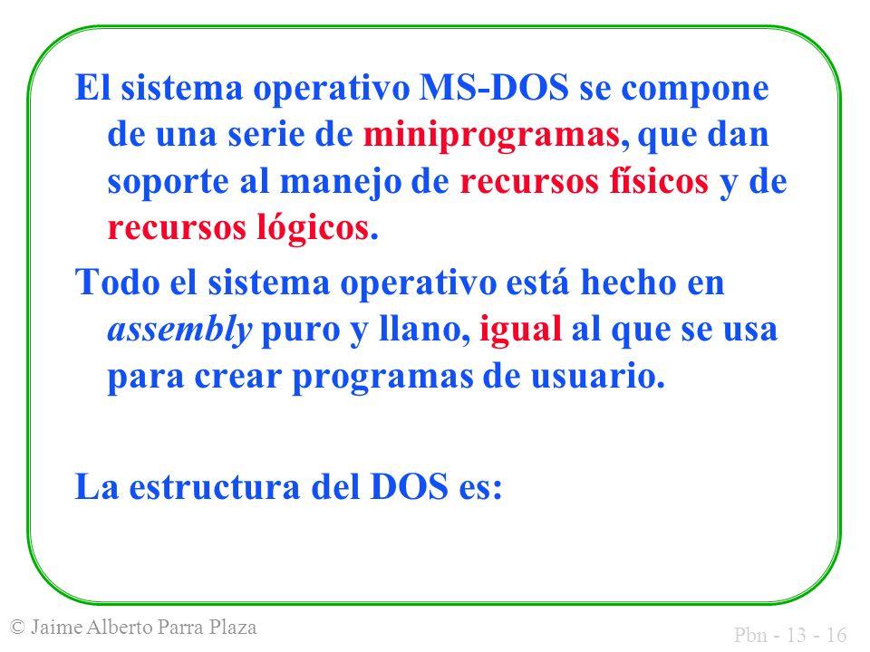 El sistema operativo MS-DOS se compone de una serie de miniprogramas, que dan soporte al manejo de recursos físicos y de recursos lógicos.