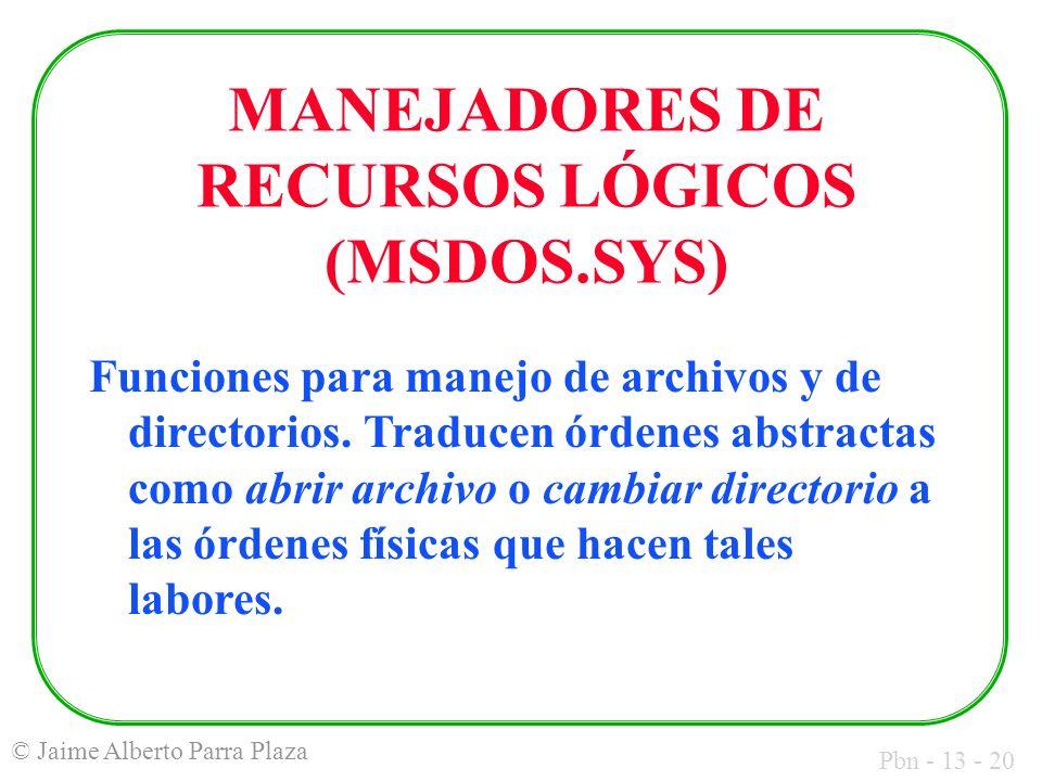 MANEJADORES DE RECURSOS LÓGICOS (MSDOS.SYS)