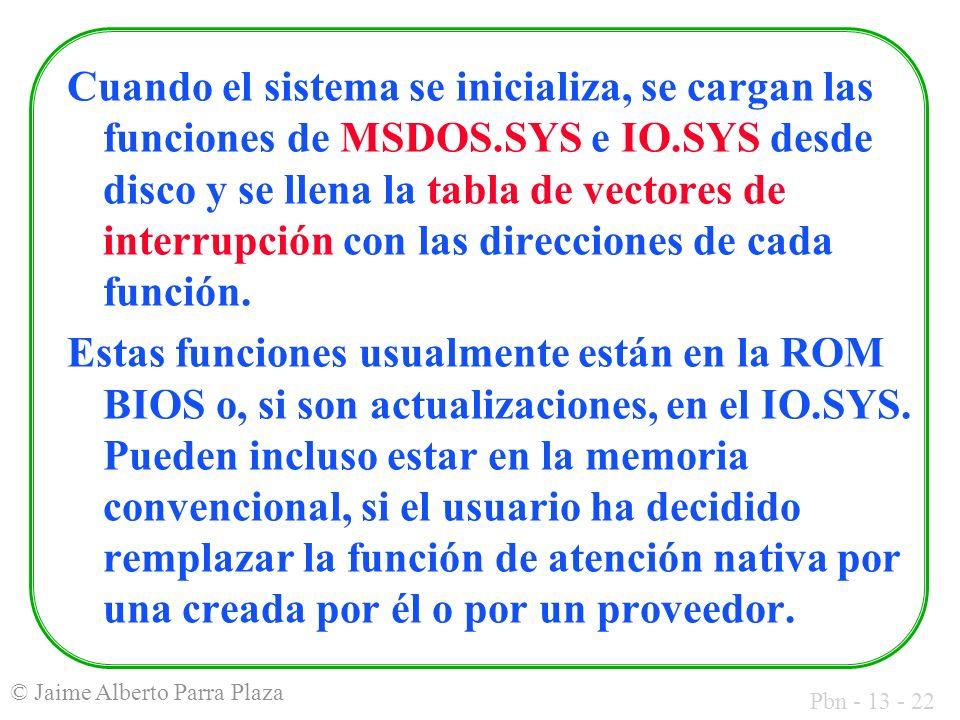 Cuando el sistema se inicializa, se cargan las funciones de MSDOS