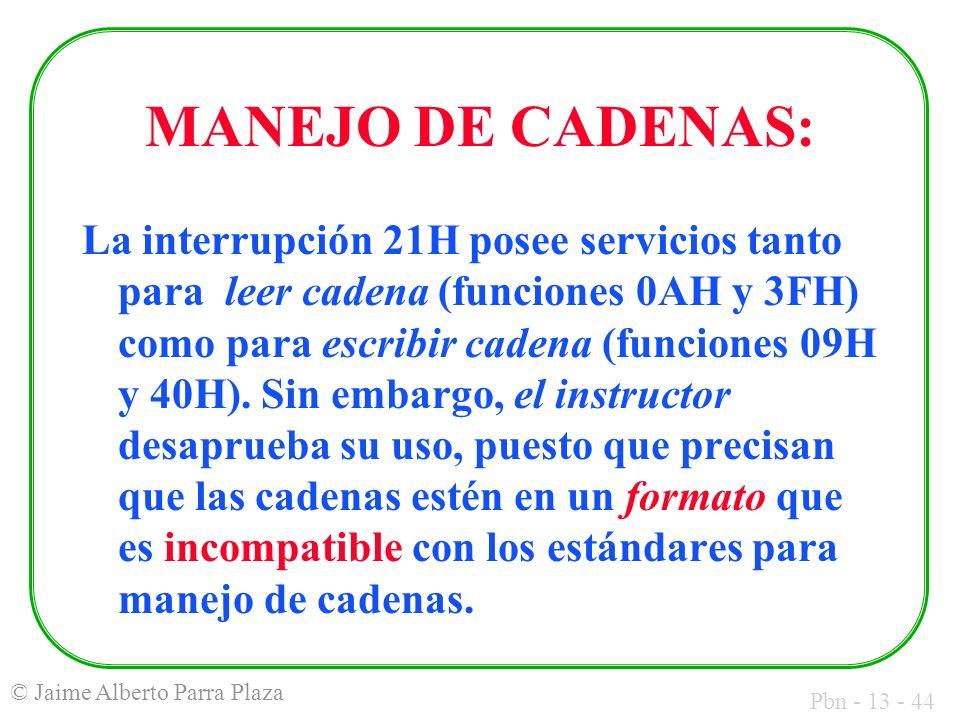 MANEJO DE CADENAS: