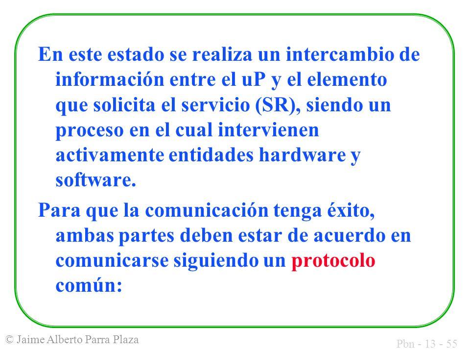En este estado se realiza un intercambio de información entre el uP y el elemento que solicita el servicio (SR), siendo un proceso en el cual intervienen activamente entidades hardware y software.