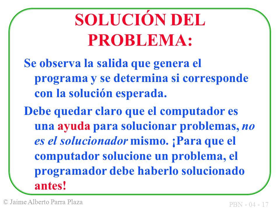 SOLUCIÓN DEL PROBLEMA: