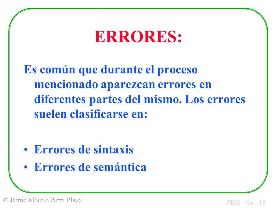 ERRORES: Es común que durante el proceso mencionado aparezcan errores en diferentes partes del mismo. Los errores suelen clasificarse en: