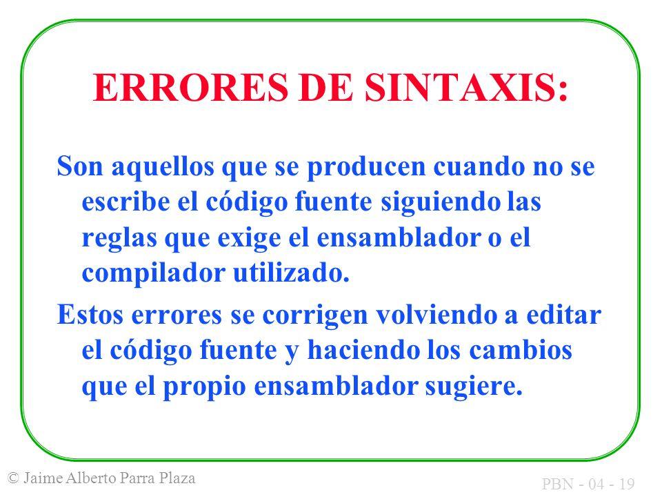 ERRORES DE SINTAXIS: