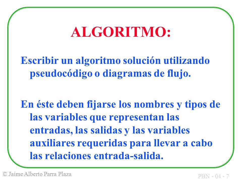 ALGORITMO:Escribir un algoritmo solución utilizando pseudocódigo o diagramas de flujo.