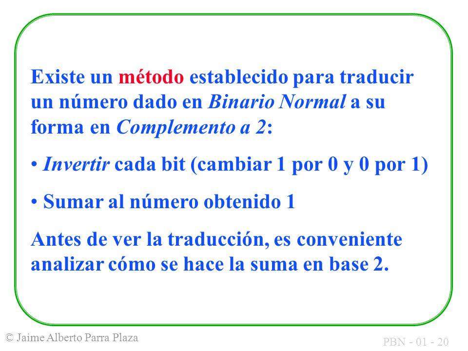 Existe un método establecido para traducir un número dado en Binario Normal a su forma en Complemento a 2: