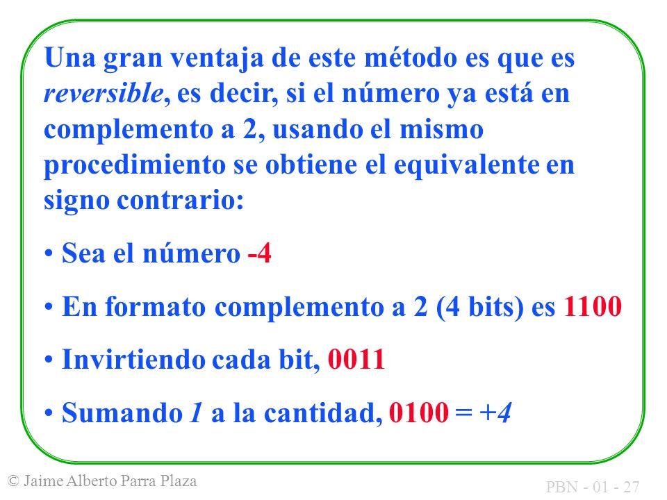 Una gran ventaja de este método es que es reversible, es decir, si el número ya está en complemento a 2, usando el mismo procedimiento se obtiene el equivalente en signo contrario: