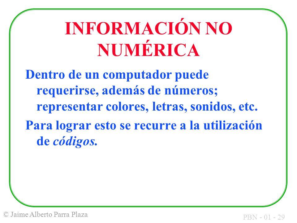INFORMACIÓN NO NUMÉRICA