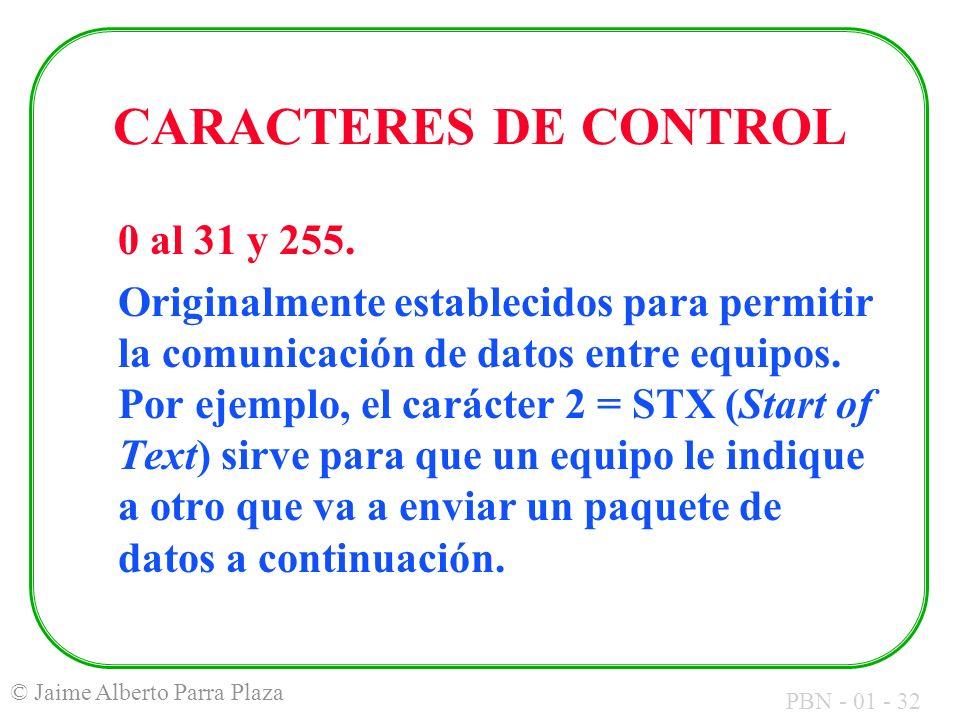 CARACTERES DE CONTROL 0 al 31 y 255.