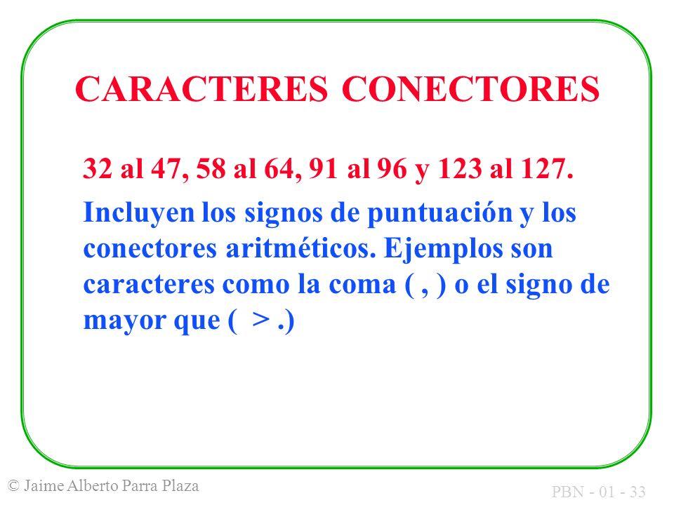 CARACTERES CONECTORES