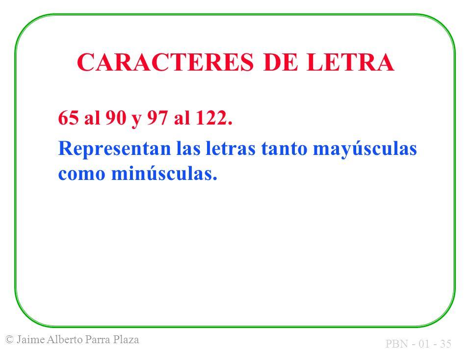 CARACTERES DE LETRA 65 al 90 y 97 al 122.