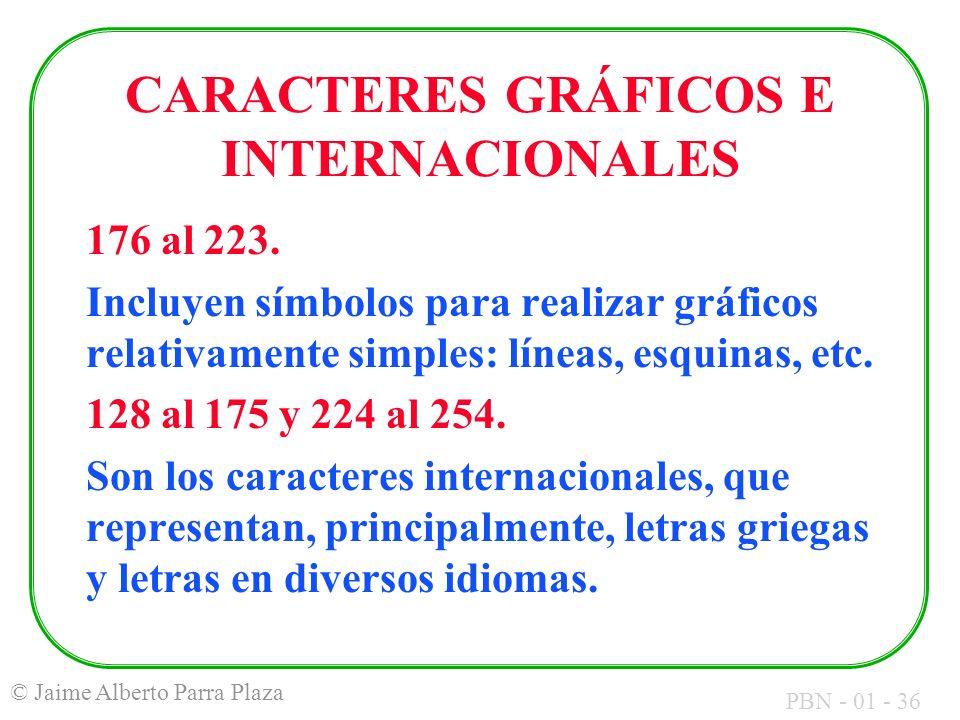 CARACTERES GRÁFICOS E INTERNACIONALES