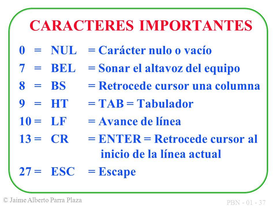 CARACTERES IMPORTANTES