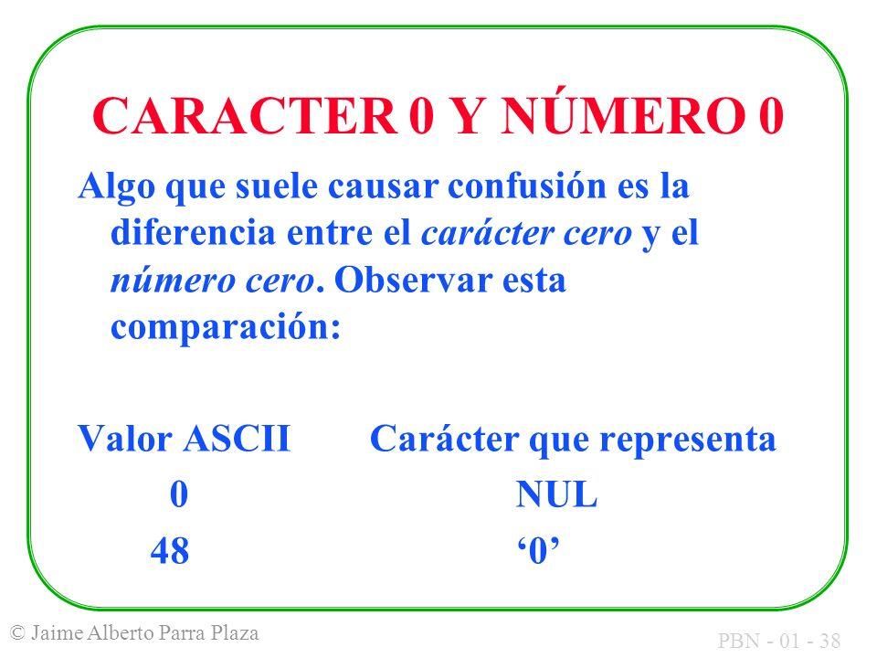 CARACTER 0 Y NÚMERO 0 Algo que suele causar confusión es la diferencia entre el carácter cero y el número cero. Observar esta comparación: