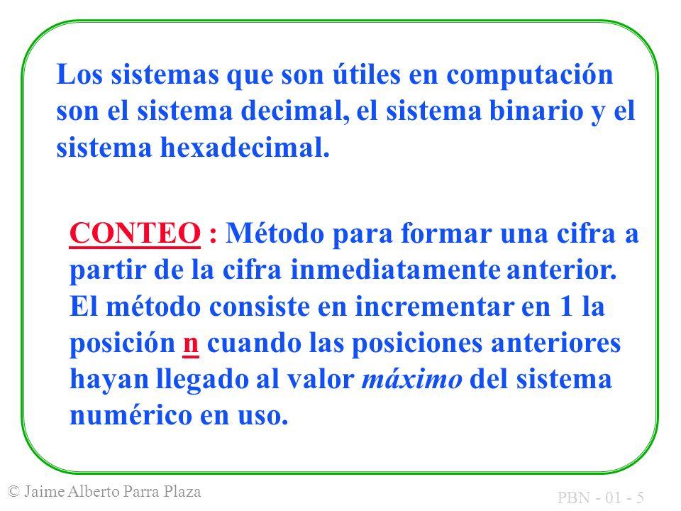 Los sistemas que son útiles en computación son el sistema decimal, el sistema binario y el sistema hexadecimal.