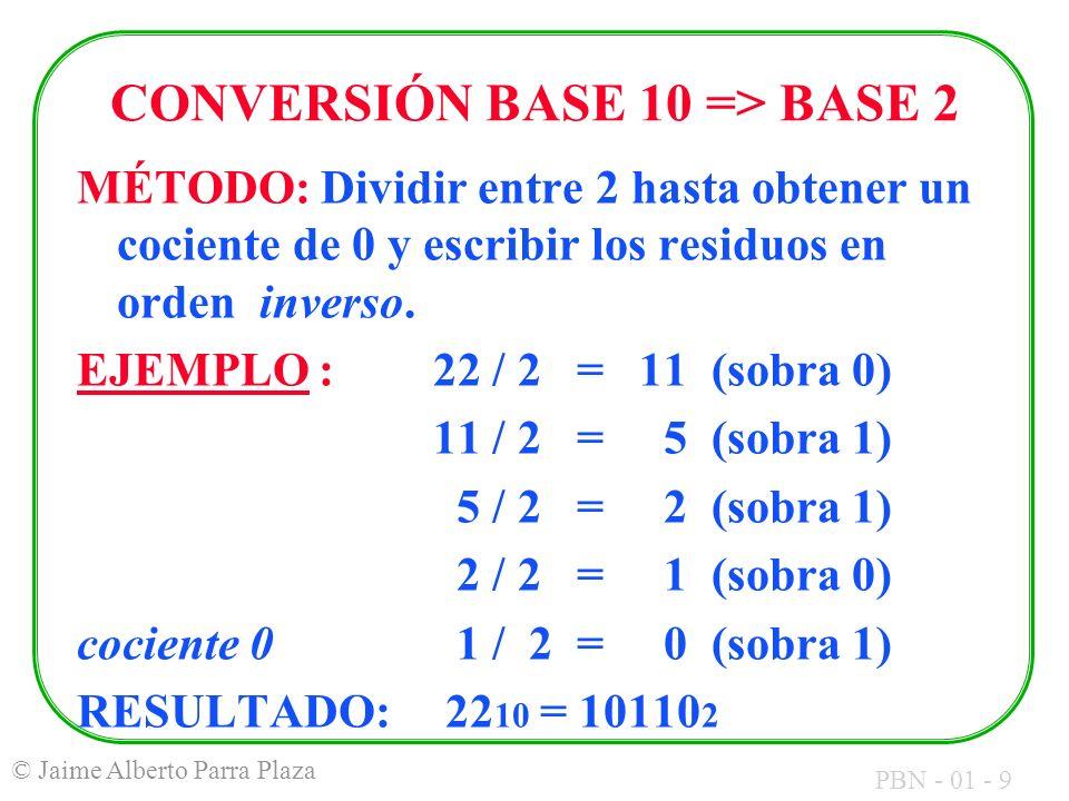 CONVERSIÓN BASE 10 => BASE 2