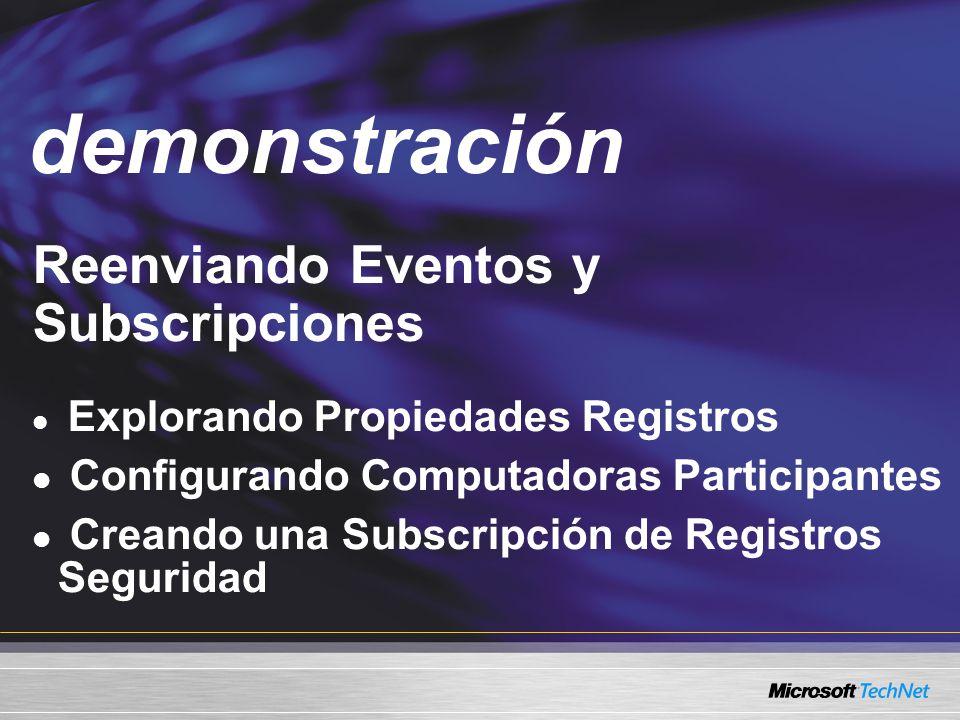 demonstración Demo Reenviando Eventos y Subscripciones