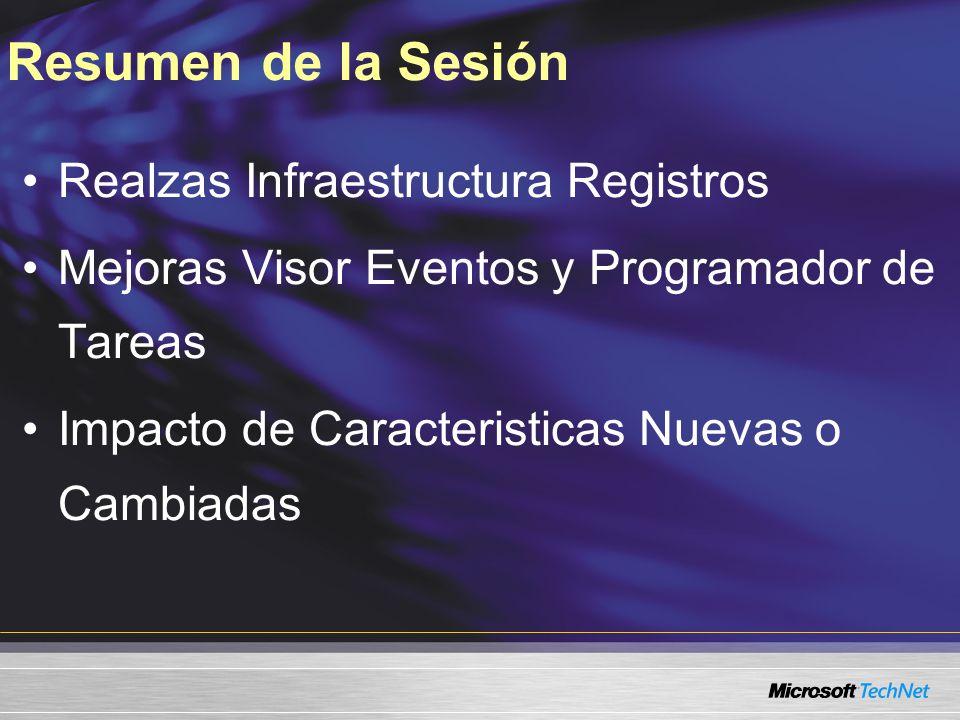 Resumen de la Sesión Realzas Infraestructura Registros