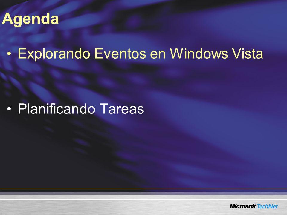 Agenda Explorando Eventos en Windows Vista Planificando Tareas TITULO