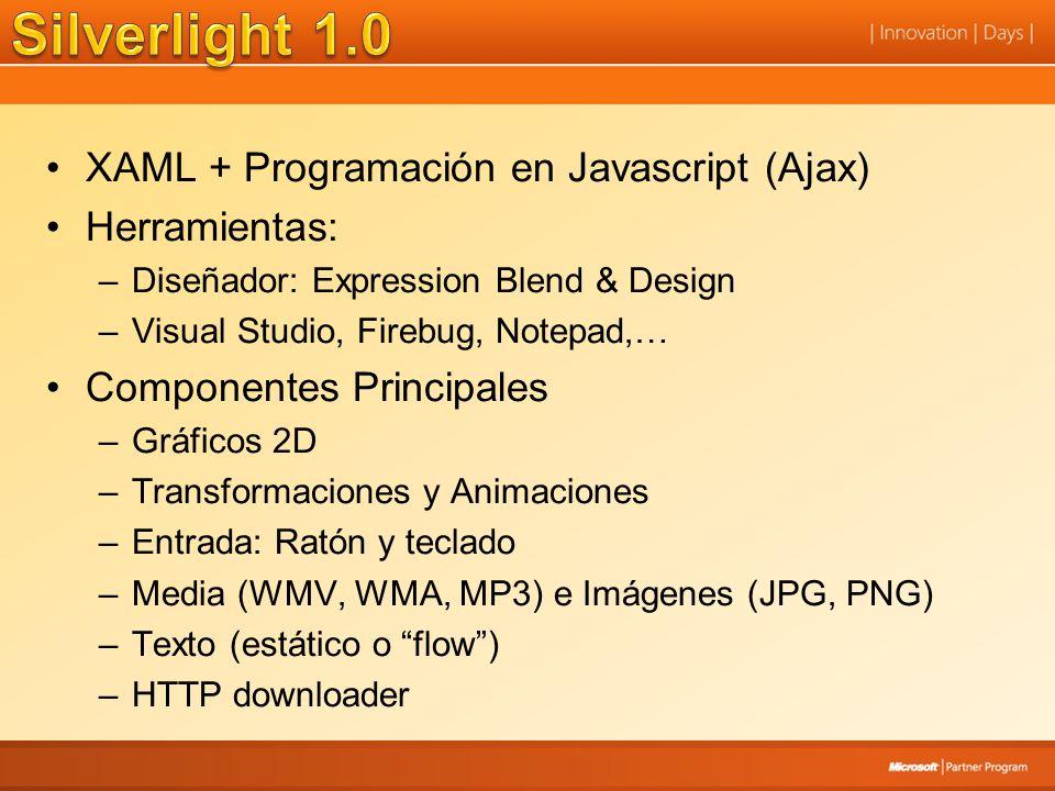 Silverlight 1.0 XAML + Programación en Javascript (Ajax) Herramientas: