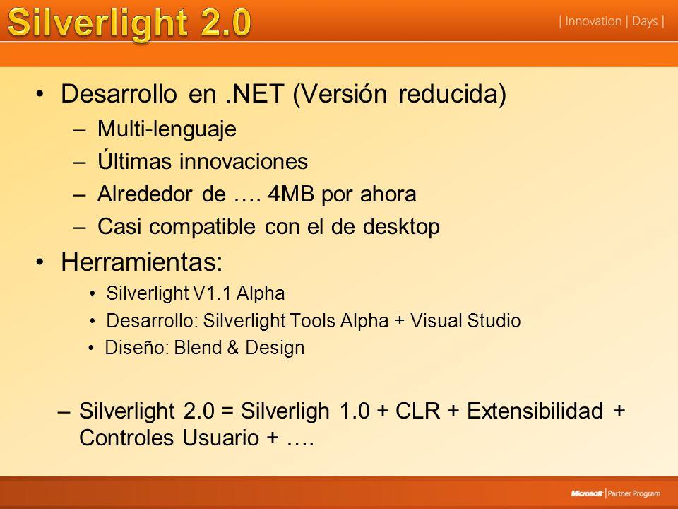 Silverlight 2.0 Desarrollo en .NET (Versión reducida) Herramientas: