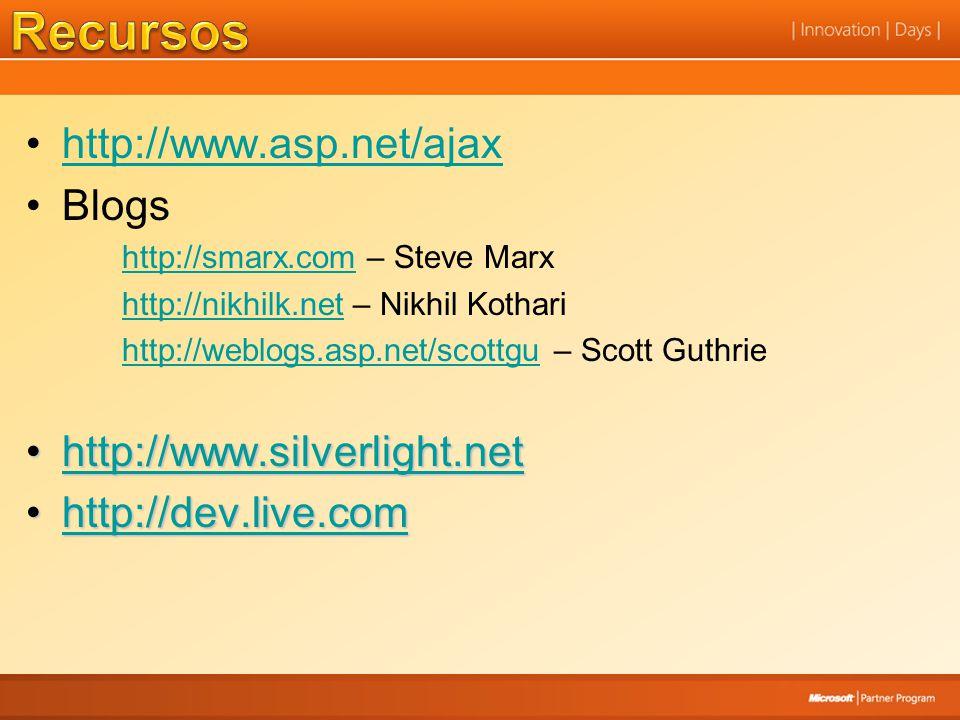 Recursos http://www.asp.net/ajax Blogs http://www.silverlight.net