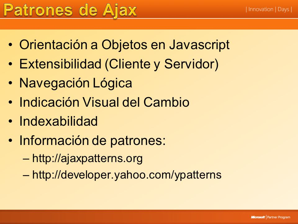 Patrones de Ajax Orientación a Objetos en Javascript