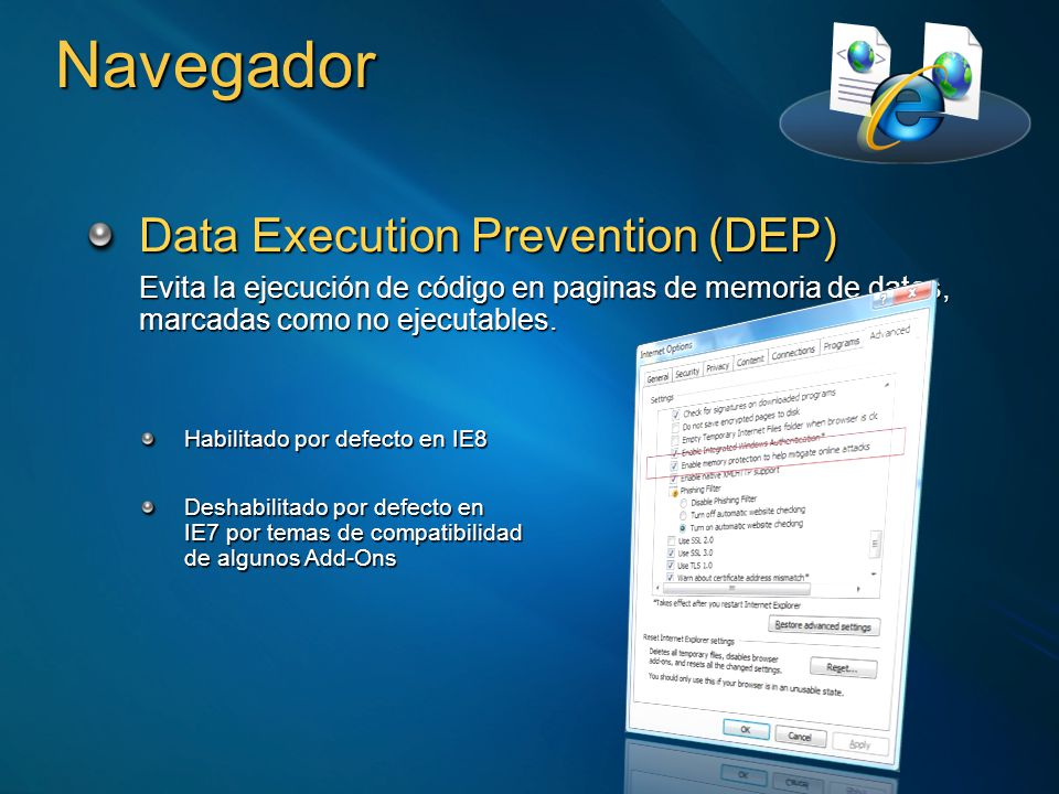Navegador Data Execution Prevention (DEP)