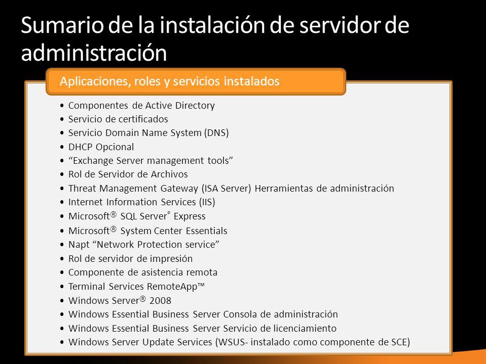 Sumario de la instalación de servidor de administración