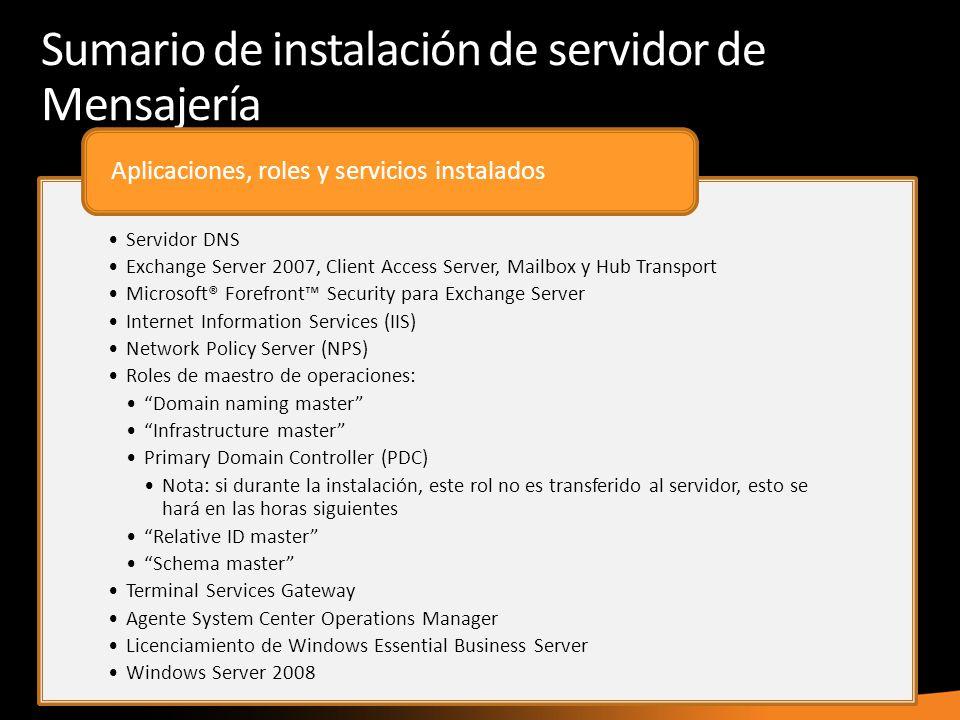 Sumario de instalación de servidor de Mensajería
