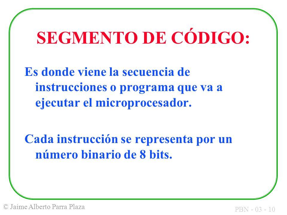 SEGMENTO DE CÓDIGO: Es donde viene la secuencia de instrucciones o programa que va a ejecutar el microprocesador.